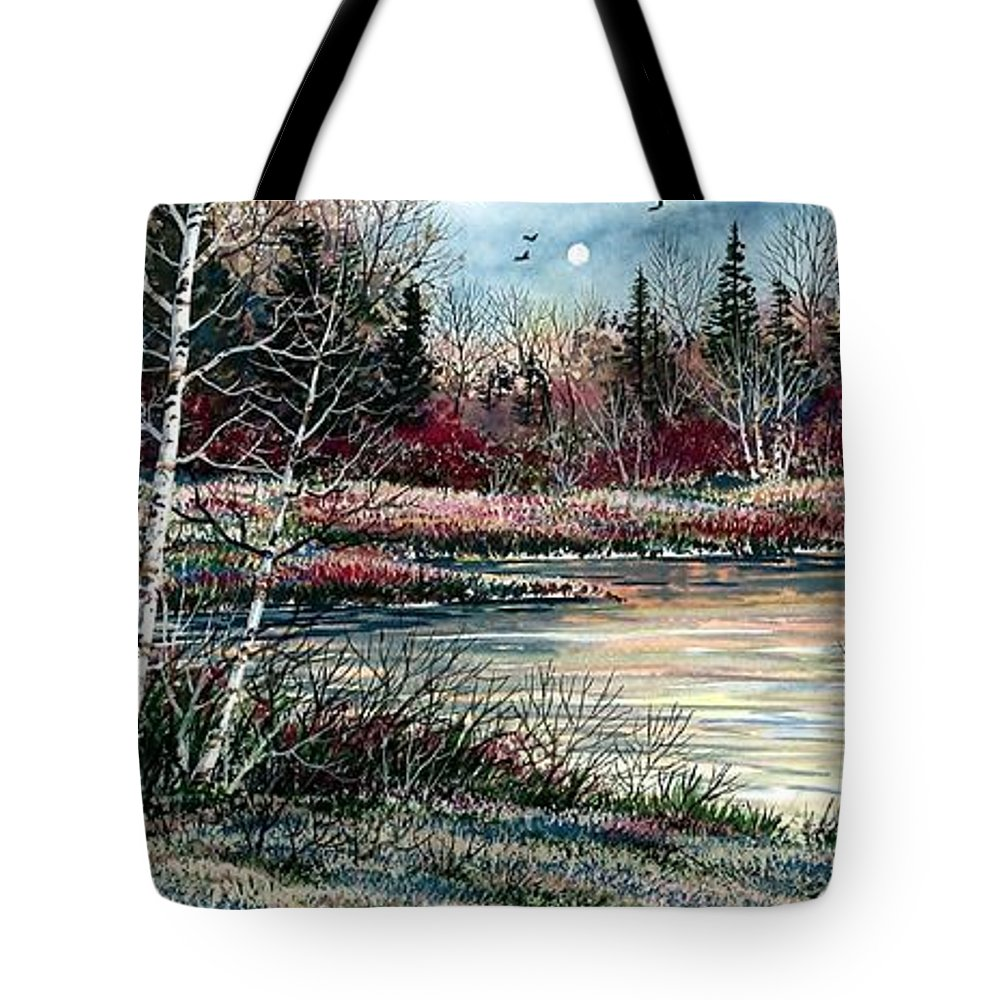 Lake Tote Bag featuring the painting Birch Lake by Steven Schultz