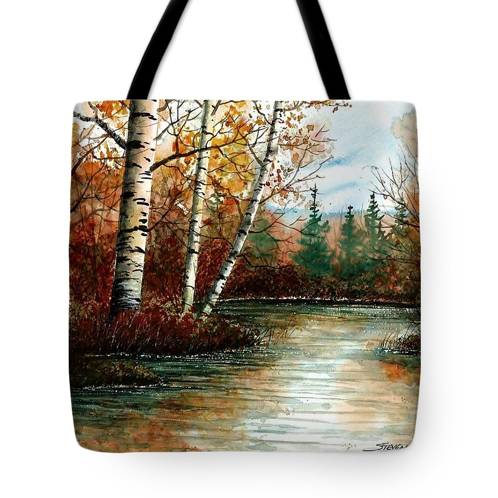 Lake Tote Bag featuring the painting Birch Pond by Steven Schultz