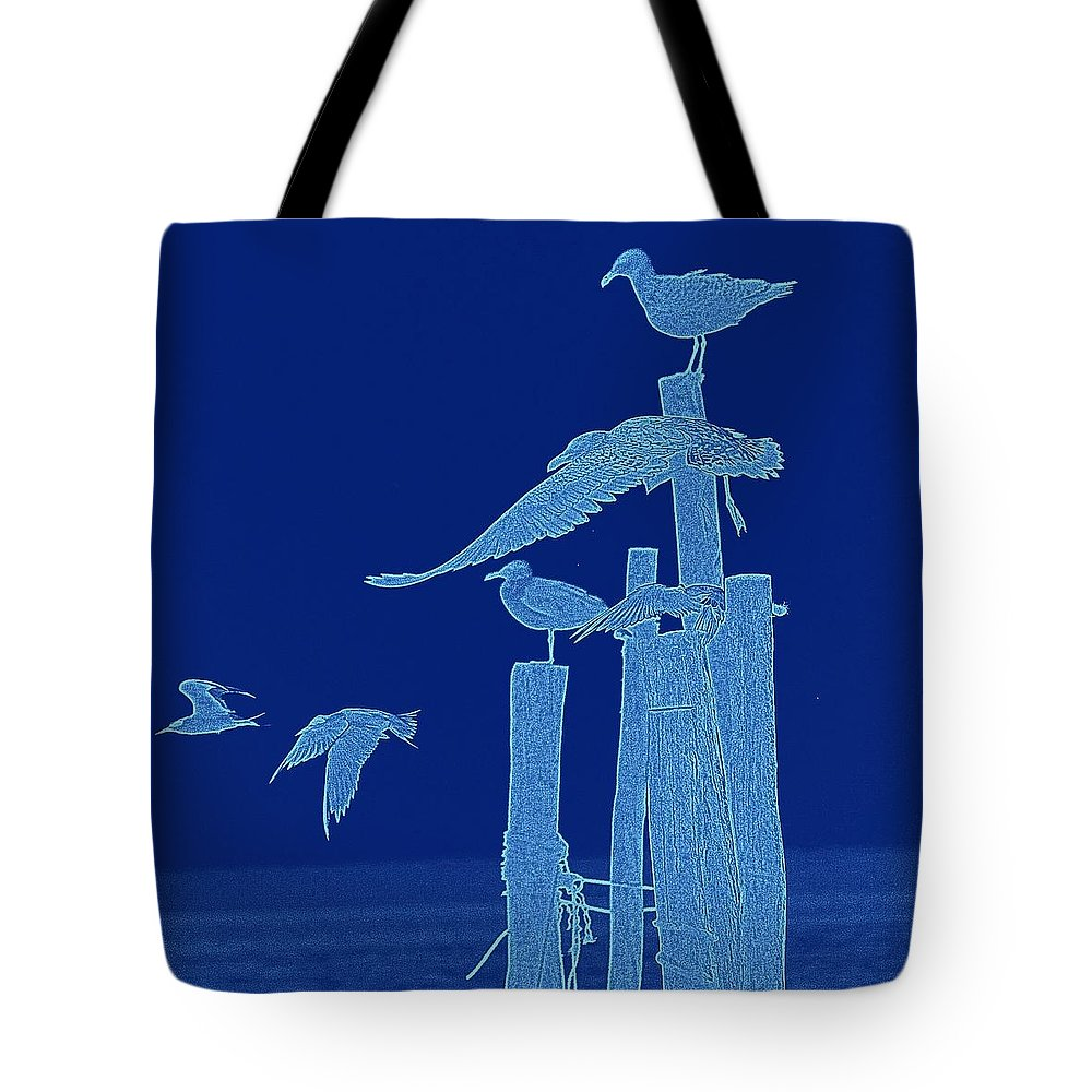 Seagulls Tote Bag featuring the photograph Birds Of A Feather by Sheryl Bergman