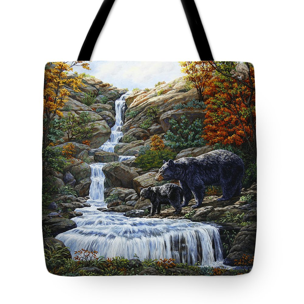 Bear Tote Bag featuring the painting Black Bear Falls by Crista Forest