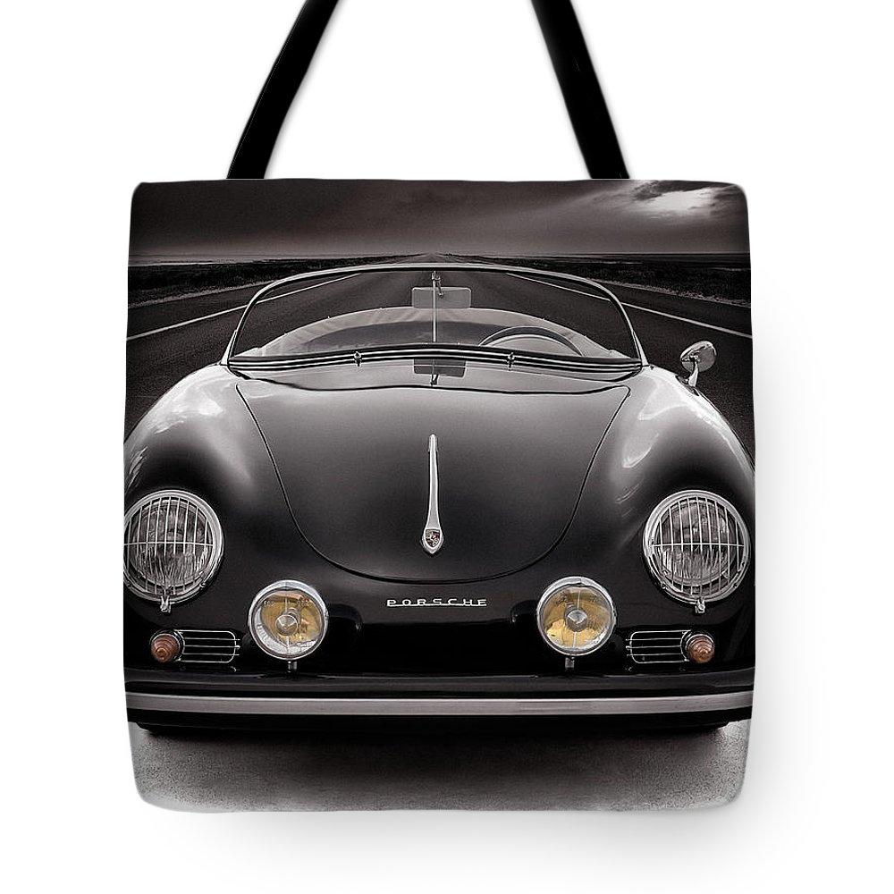 Porsche Tote Bag featuring the photograph Black Porsche Speedster by Douglas Pittman