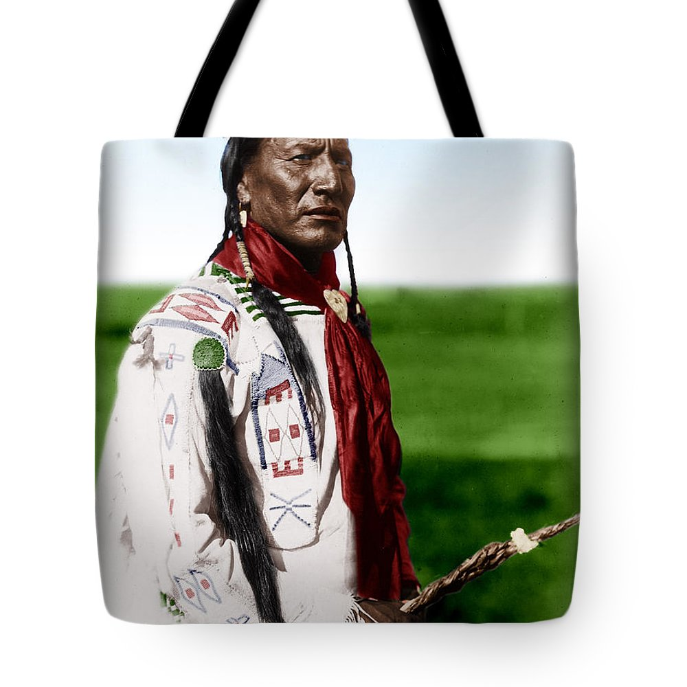 Blackfoot Man With Braided Sweet Grass Ropes Tote Bag featuring the photograph Blackfoot Man With Braided Sweet Grass Ropes by Celestial Images