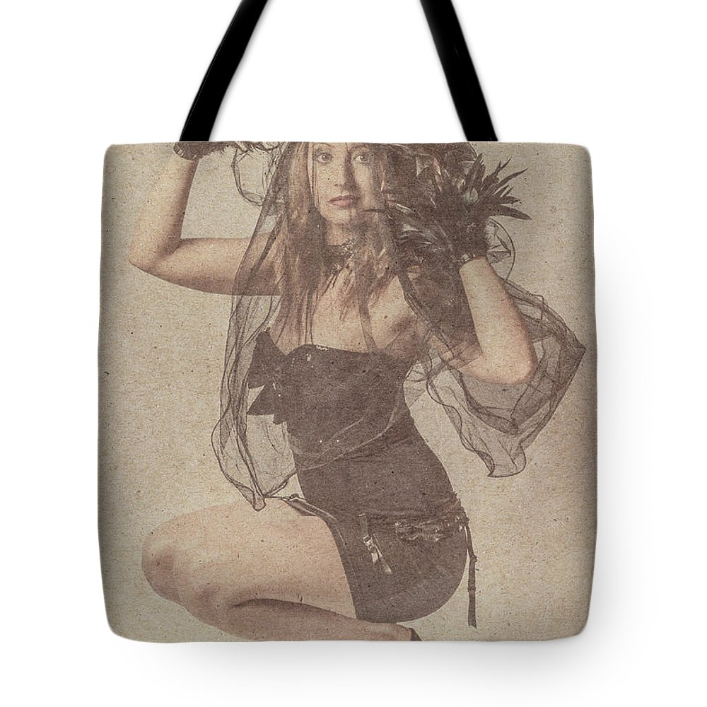 Vintage Tote Bag featuring the photograph Blond Girl Kneeling For A Vintage Fashion Photo by Jorgo Photography - Wall Art Gallery