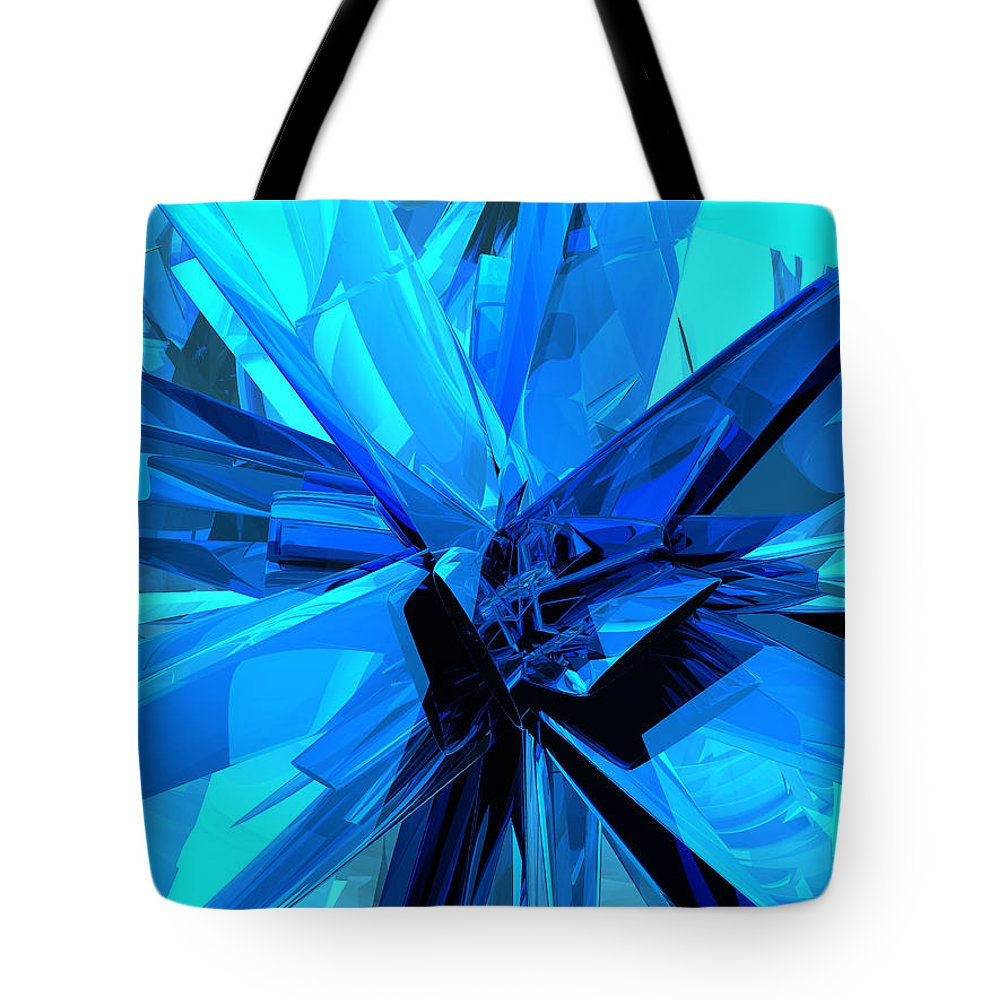 Blue Tote Bag featuring the digital art Blue Abstract by Phil Perkins