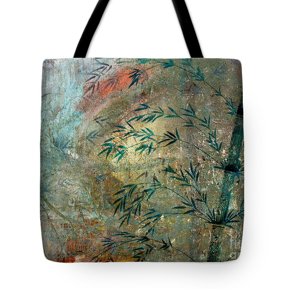 Bamboo Tote Bag featuring the painting Blue Bamboo by Mark Beach