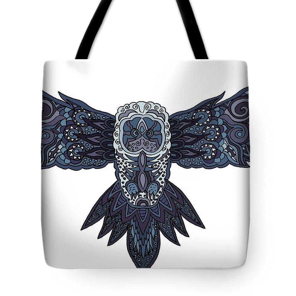 Owl Tote Bag featuring the digital art Blue Owl by Karen Elzinga