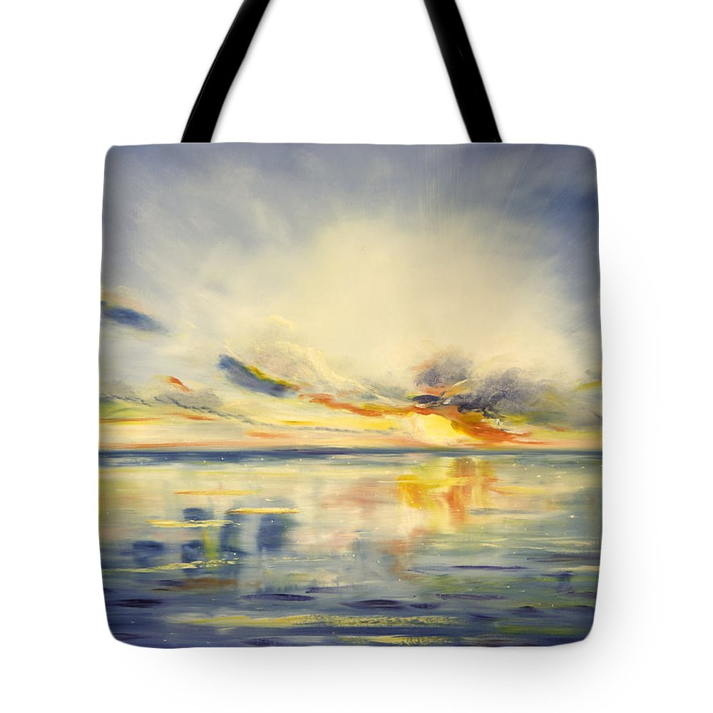 Blue Tote Bag featuring the painting Blue Sunset by Gina De Gorna