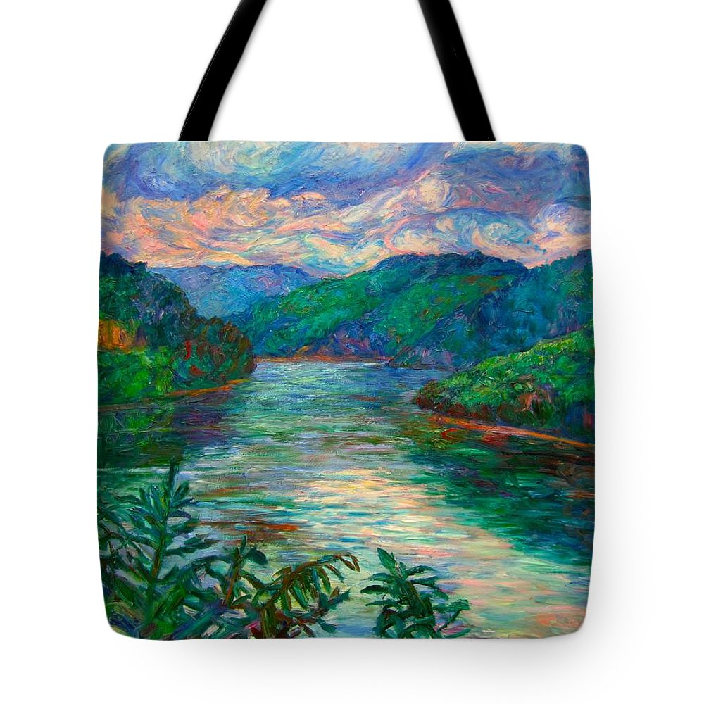 Lake Tote Bag featuring the painting Bluestone Lake by Kendall Kessler