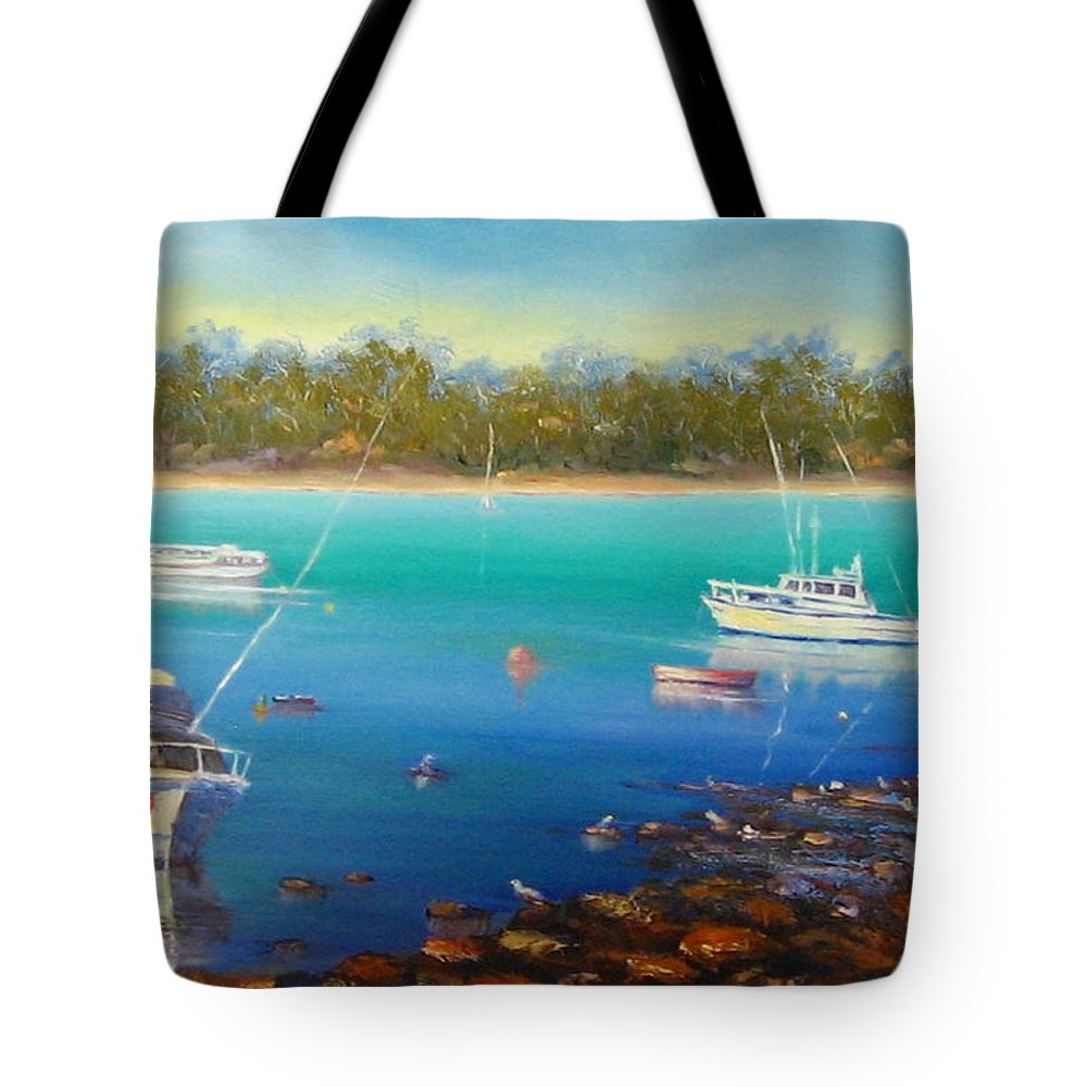 Boats Tote Bag featuring the painting Boats At Merimbula Australia by Diane Quee