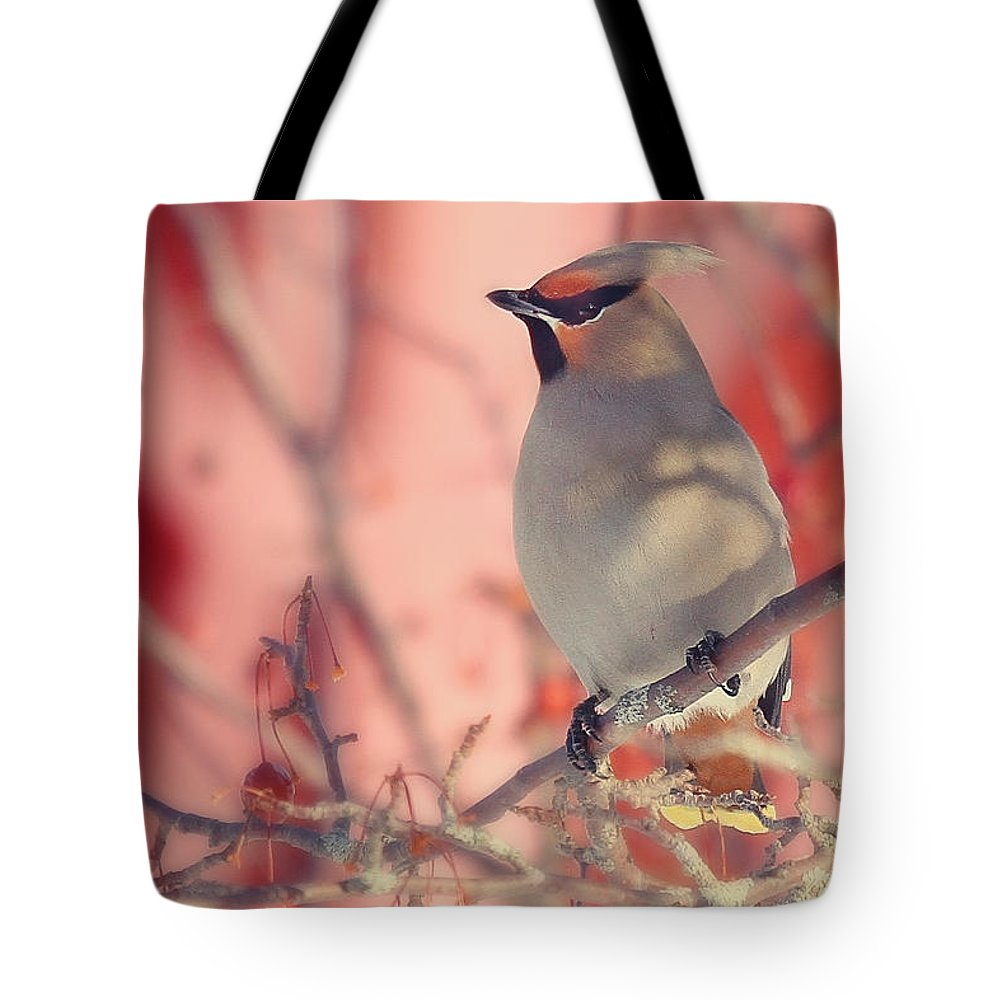Maine Wildlife Tote Bag featuring the photograph Bohemian Waxwing by Sharon Fiedler