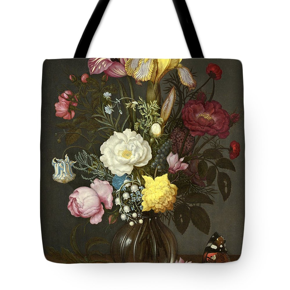 Ambrosius Bosschaert The Elder Tote Bag featuring the painting Bouquet Of Flowers In A Glass Vase by Ambrosius Bosschaert the Elder