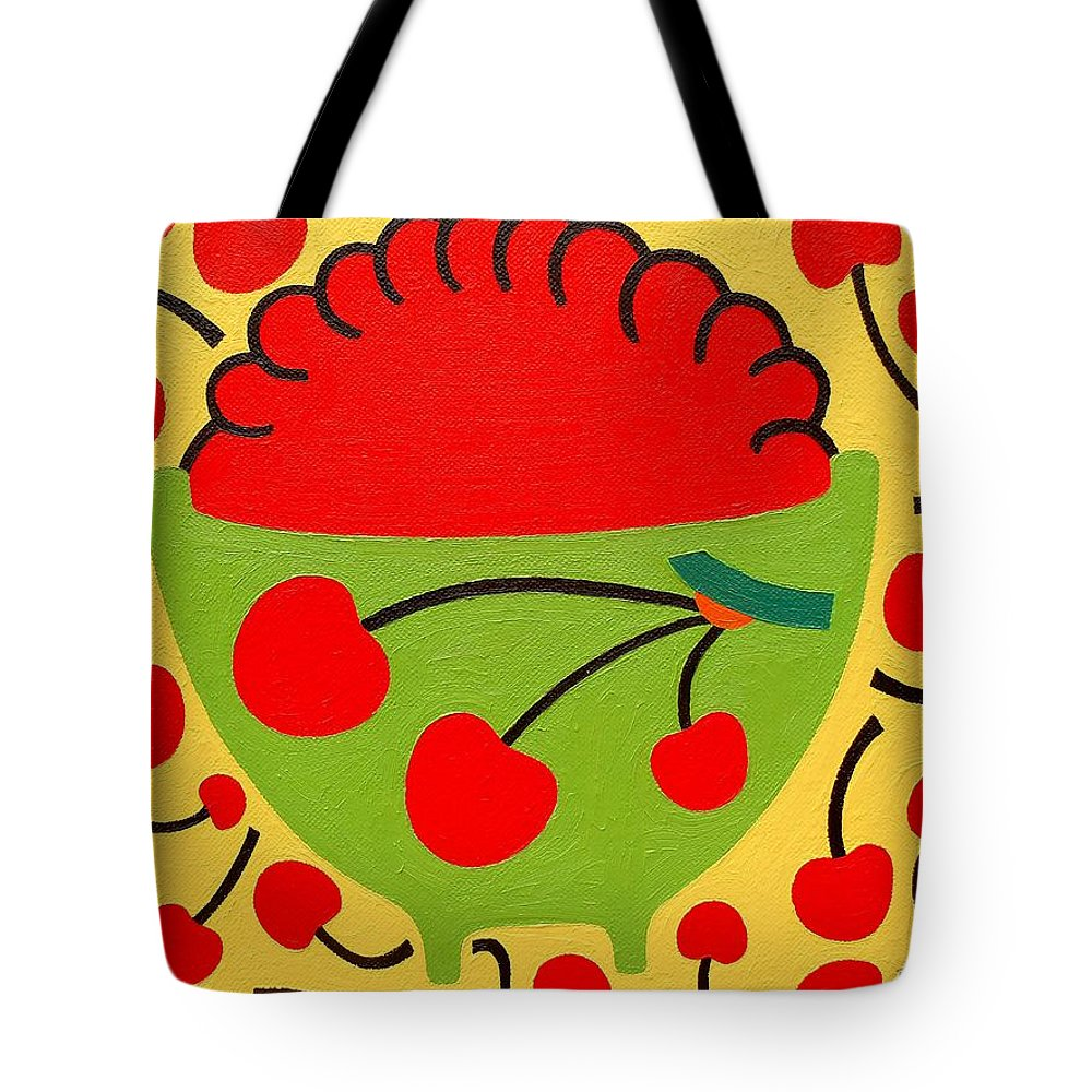 Bowl Of Cherries Tote Bag featuring the painting Bowl Of Cherries by Patrick J Murphy