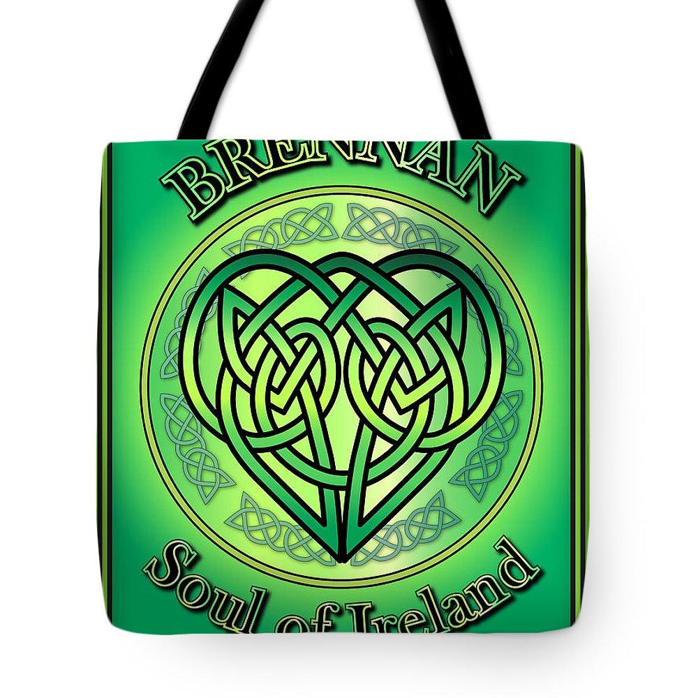 Brennan Tote Bag featuring the digital art Brennan Soul Of Ireland by Ireland Calling