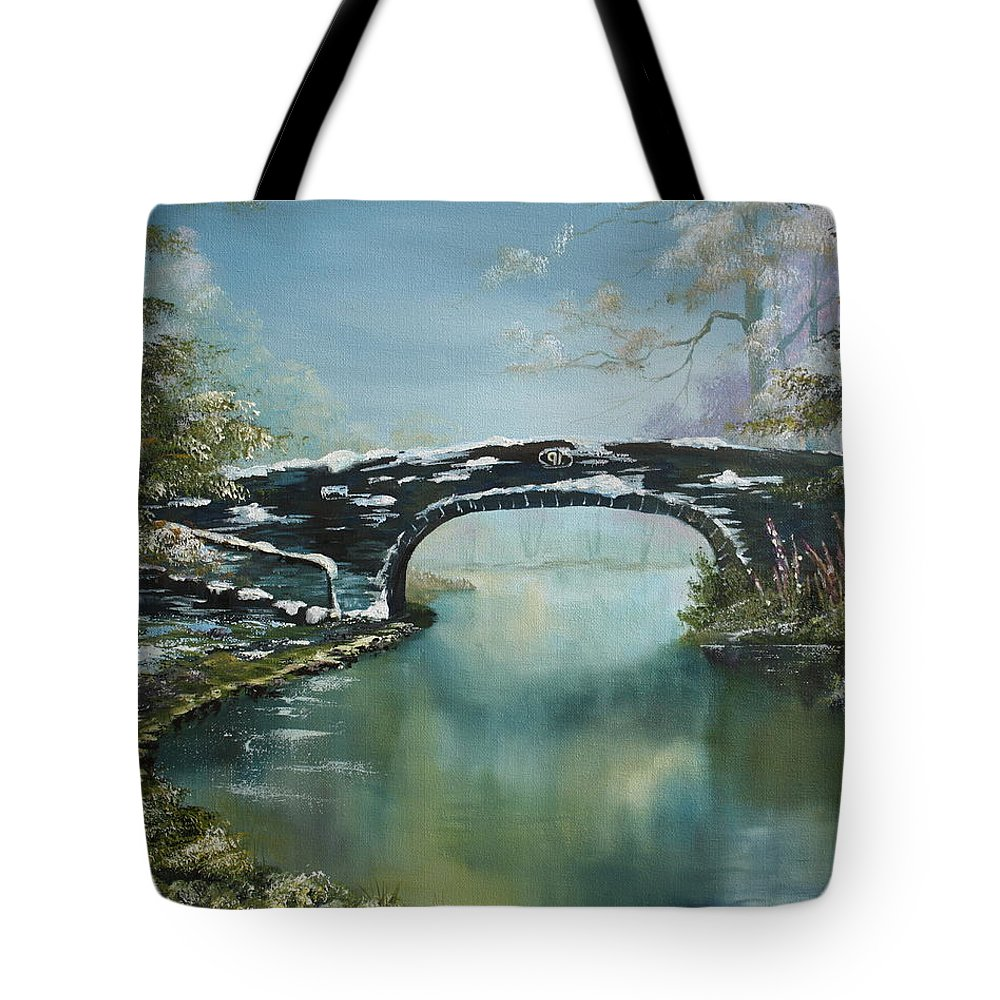 Bridge Tote Bag featuring the painting Bridge 91 At Fradley Canal Staffordshire Uk by Jean Walker