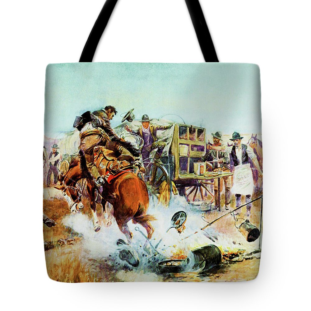 Charles Russell Tote Bag featuring the digital art Bronc For Breakfast by Charles Russell