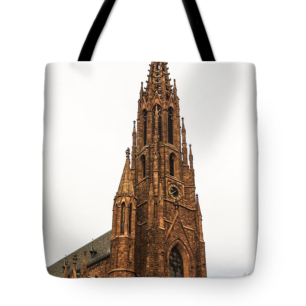 Religion Tote Bag featuring the photograph Brownstone Church by Eric Swan