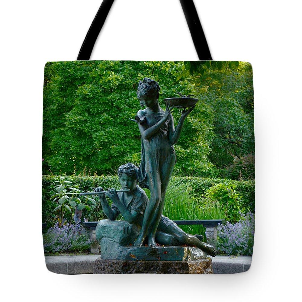 Burnett Tote Bag featuring the photograph Burnett Fountain by Kathrine R Mitchell