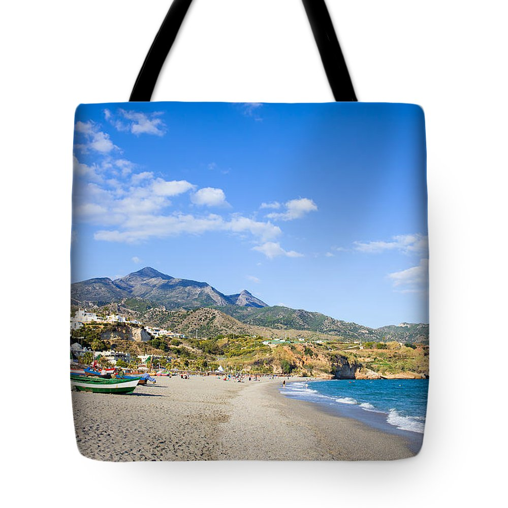 Andalucia Tote Bag featuring the photograph Burriana Beach In Nerja by Artur Bogacki