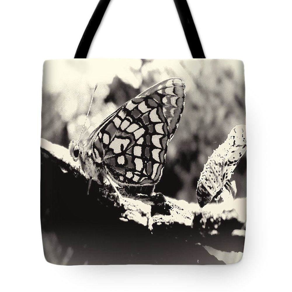 Tote Bag featuring the digital art Butterfly In Black And White by Cathy Anderson