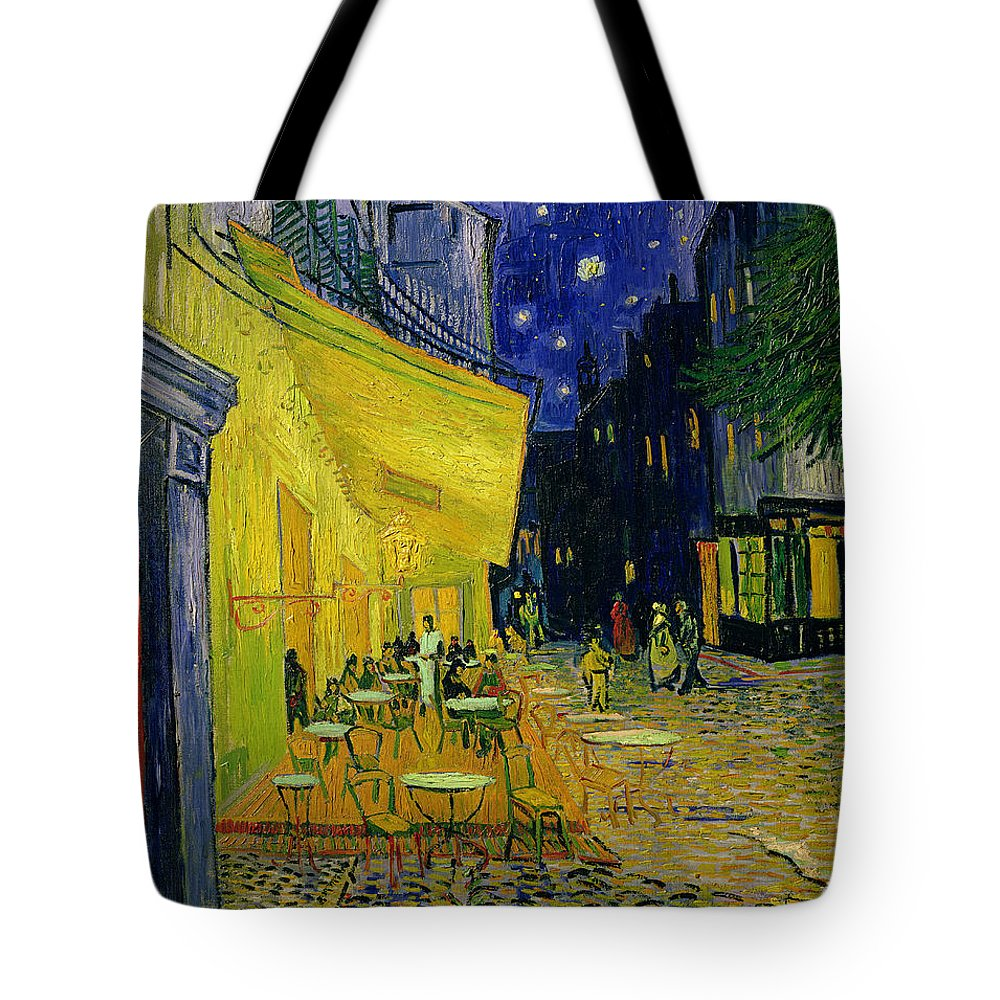 Cafe Terrace Tote Bag featuring the painting Cafe Terrace Arles by Vincent van Gogh