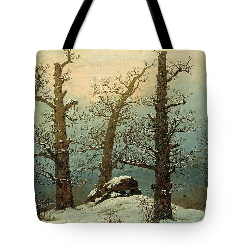 Caspar David Friedrich Tote Bag featuring the painting Cairn In Snow by Celestial Images