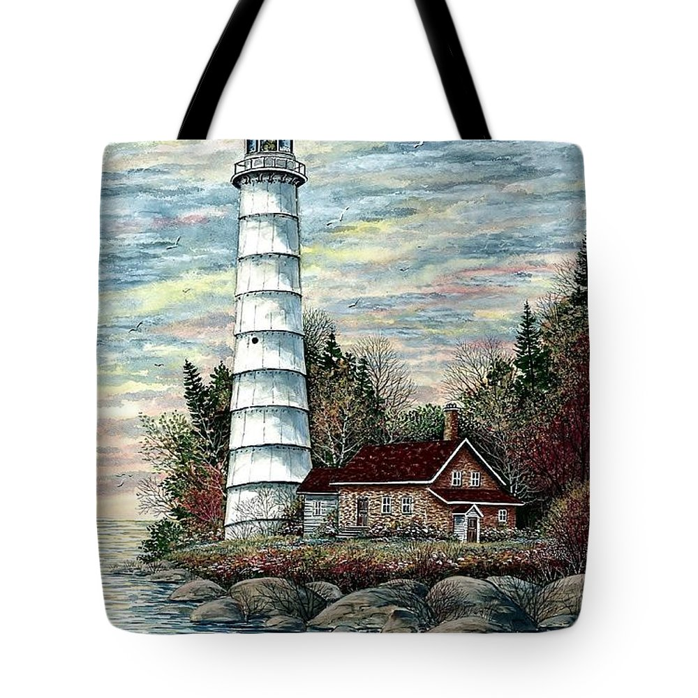 Cana Island Light Tote Bag featuring the painting Cana Island Light by Steven Schultz