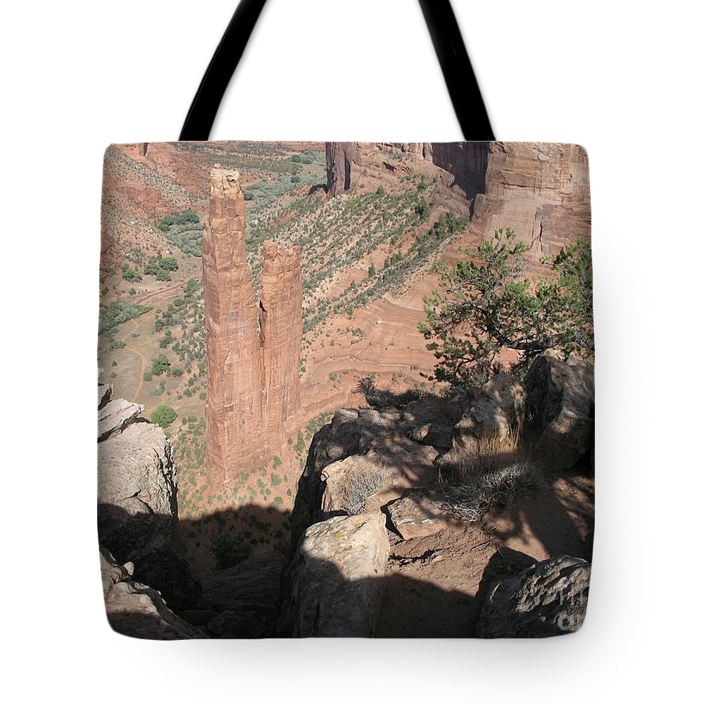 Canyon Tote Bag featuring the photograph Canyon De Chelly Spider Rock by Christiane Schulze Art And Photography