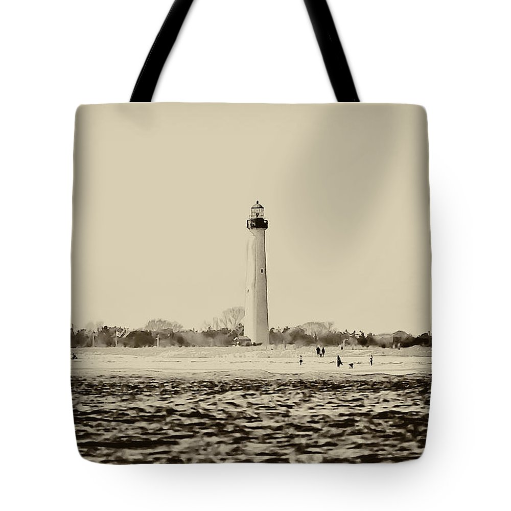 Cape Tote Bag featuring the photograph Cape May Lighthouse In Sepia by Bill Cannon