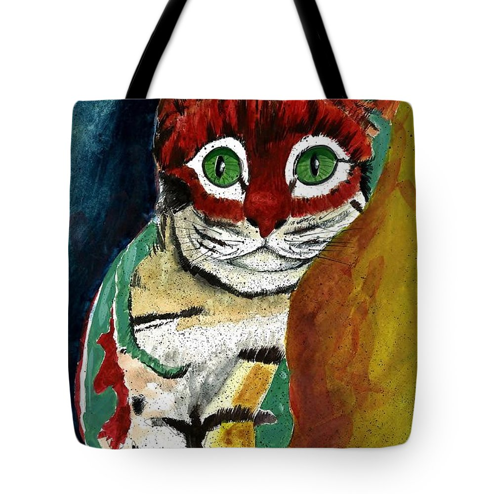 Cat Tote Bag featuring the painting Cat Around Corner by Steven Schultz