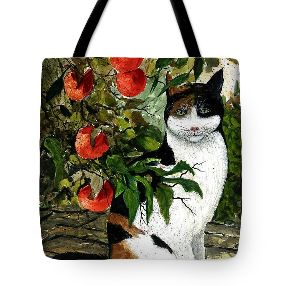 Cat Tote Bag featuring the painting Cat On The Patio by Steven Schultz