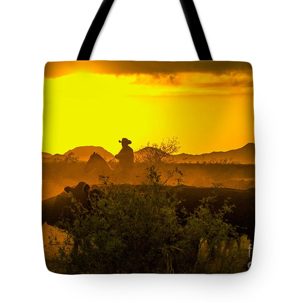 Cattle Tote Bag featuring the photograph Cattle Drive by Larry White