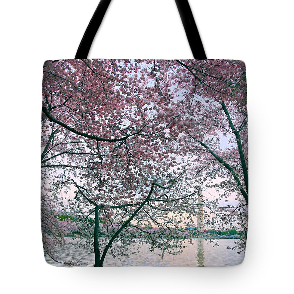 Cherry Blossom Trees Tote Bag featuring the photograph Cherry Blossom Trees by Mitch Cat