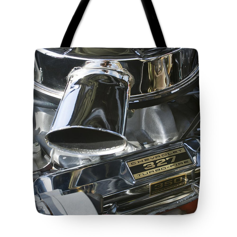 Chevy Engine Tote Bag featuring the photograph Chevrolet Engine by Jill Reger