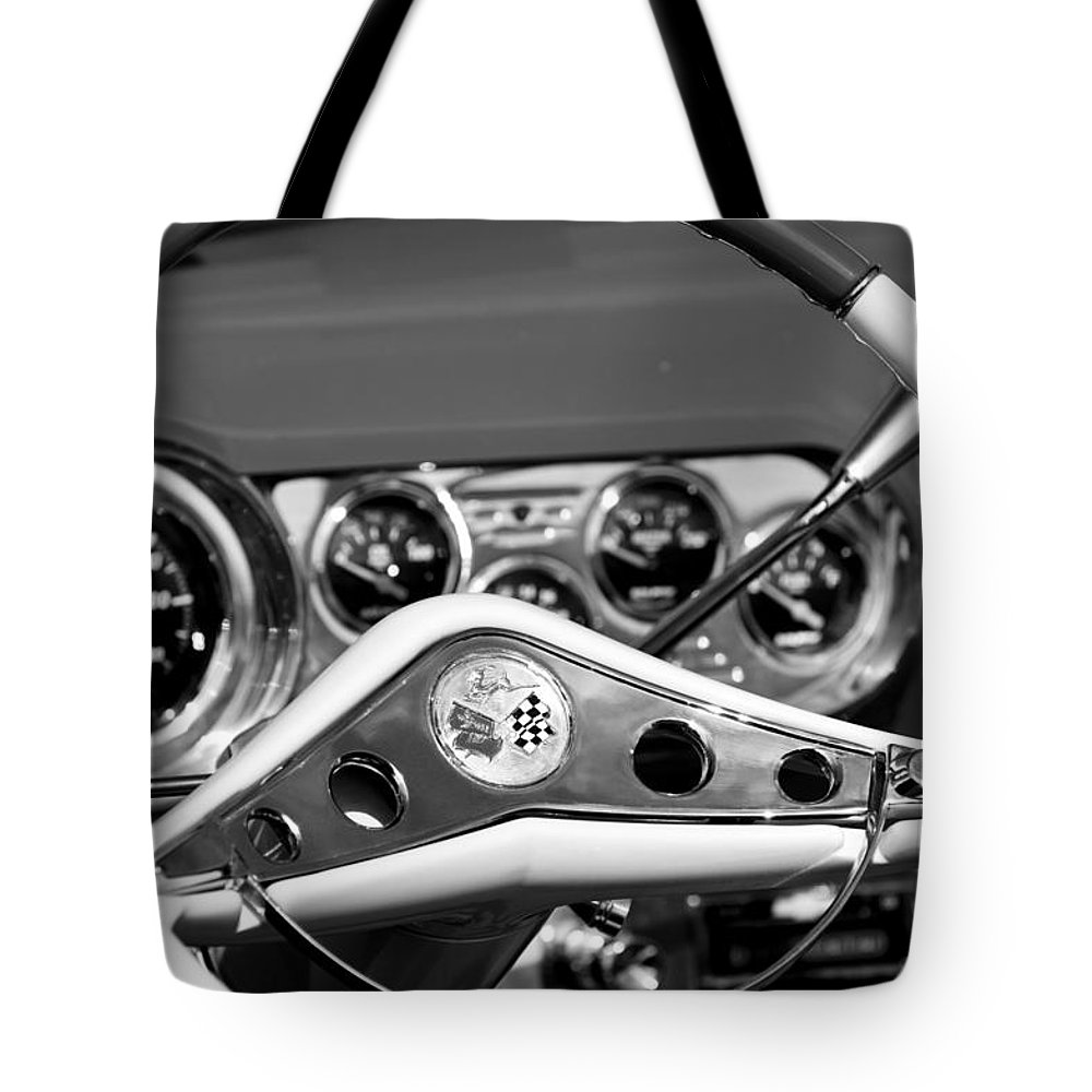 Chevrolet Impala Steering Wheel Tote Bag featuring the photograph Chevrolet Impala Steering Wheel by Jill Reger