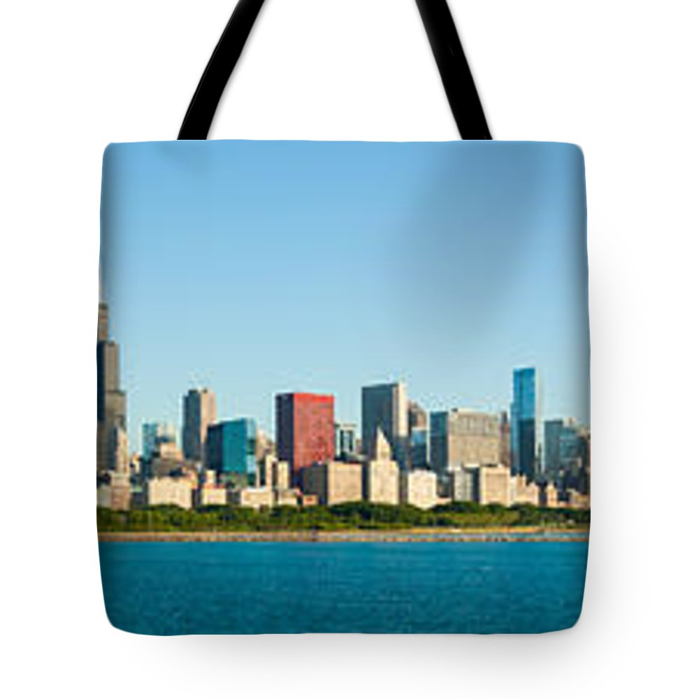 Chicago Skyline Tote Bag featuring the photograph Chicago Lake Front by Semmick Photo