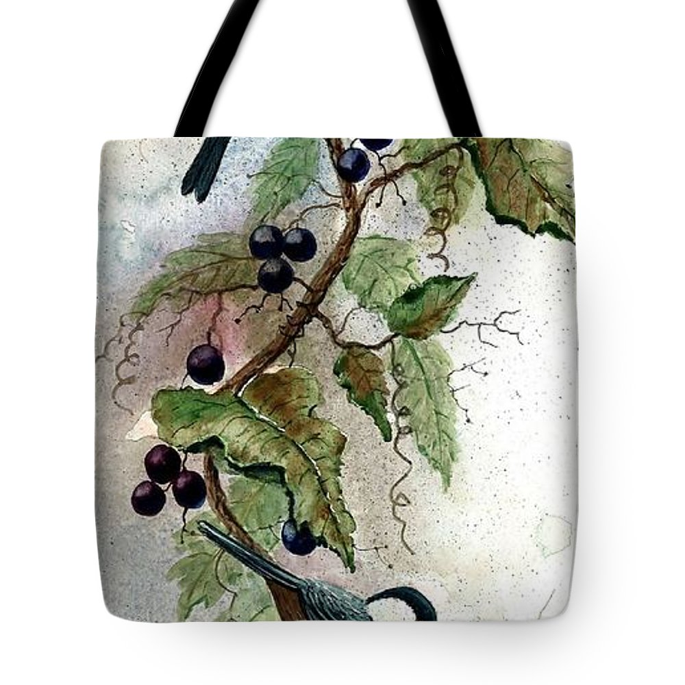 Chickadees Tote Bag featuring the painting Chickadees And Blueberries by Steven Schultz