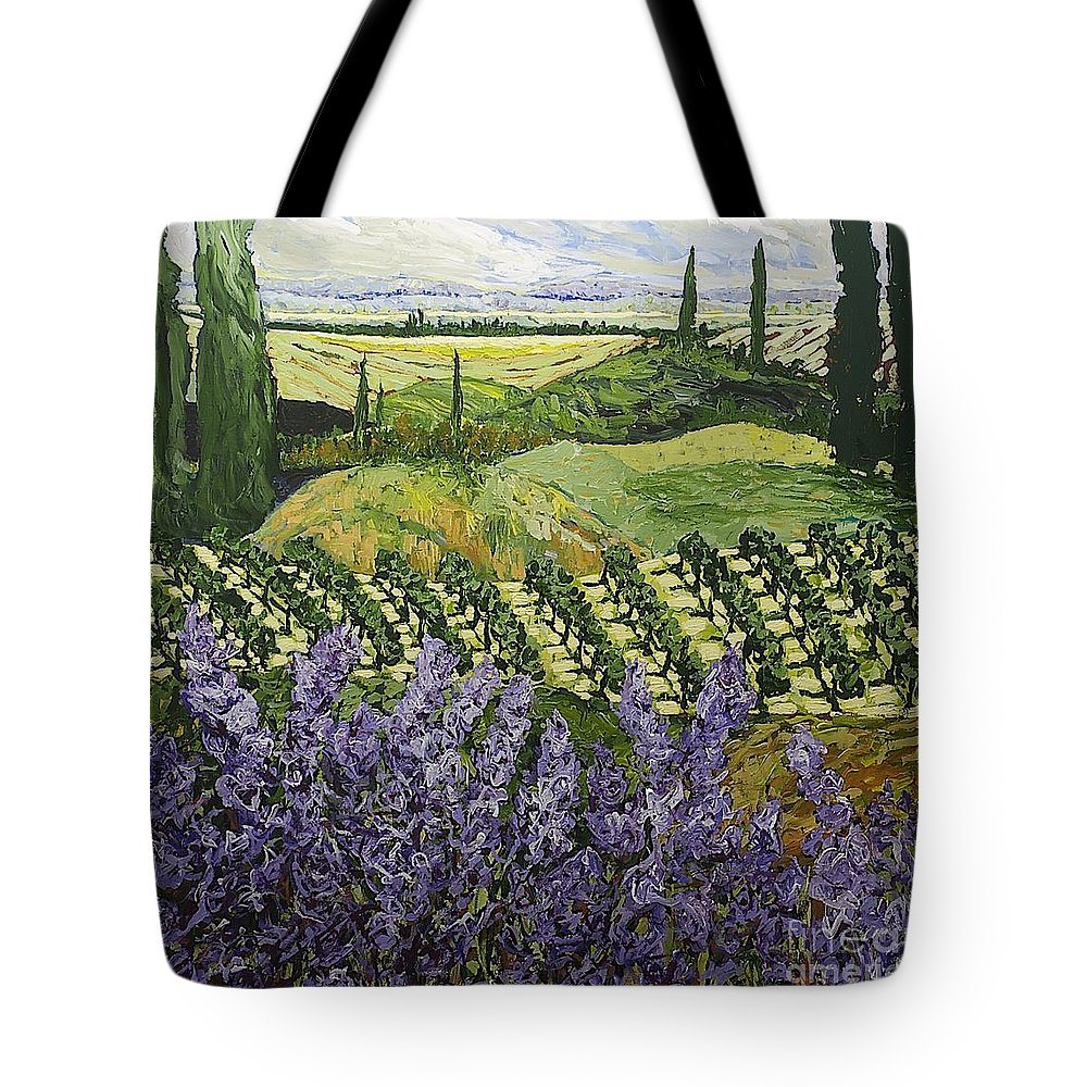 Landscape Tote Bag featuring the painting Chinaberry Hill by Allan P Friedlander