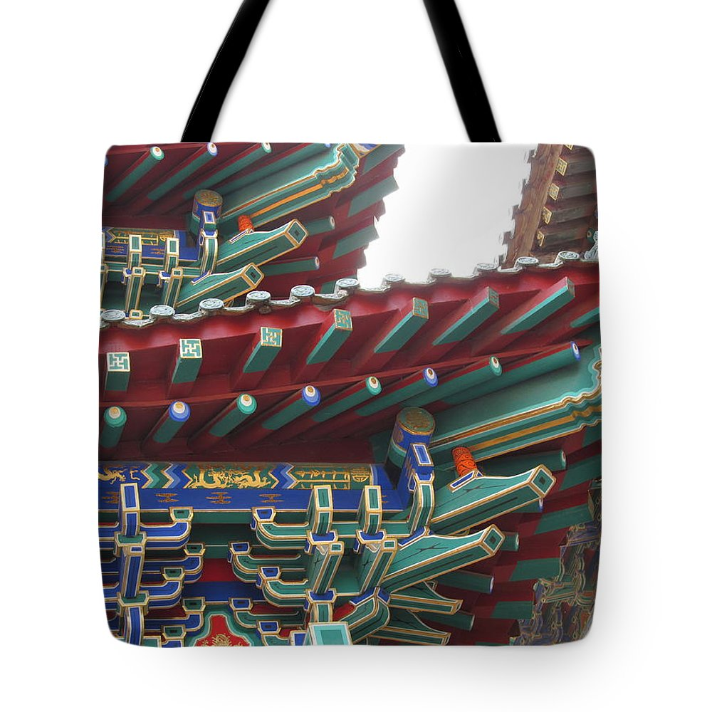 Zang Shan Temple Qingdao Tote Bag featuring the photograph Chinese Architecture by Alfred Ng