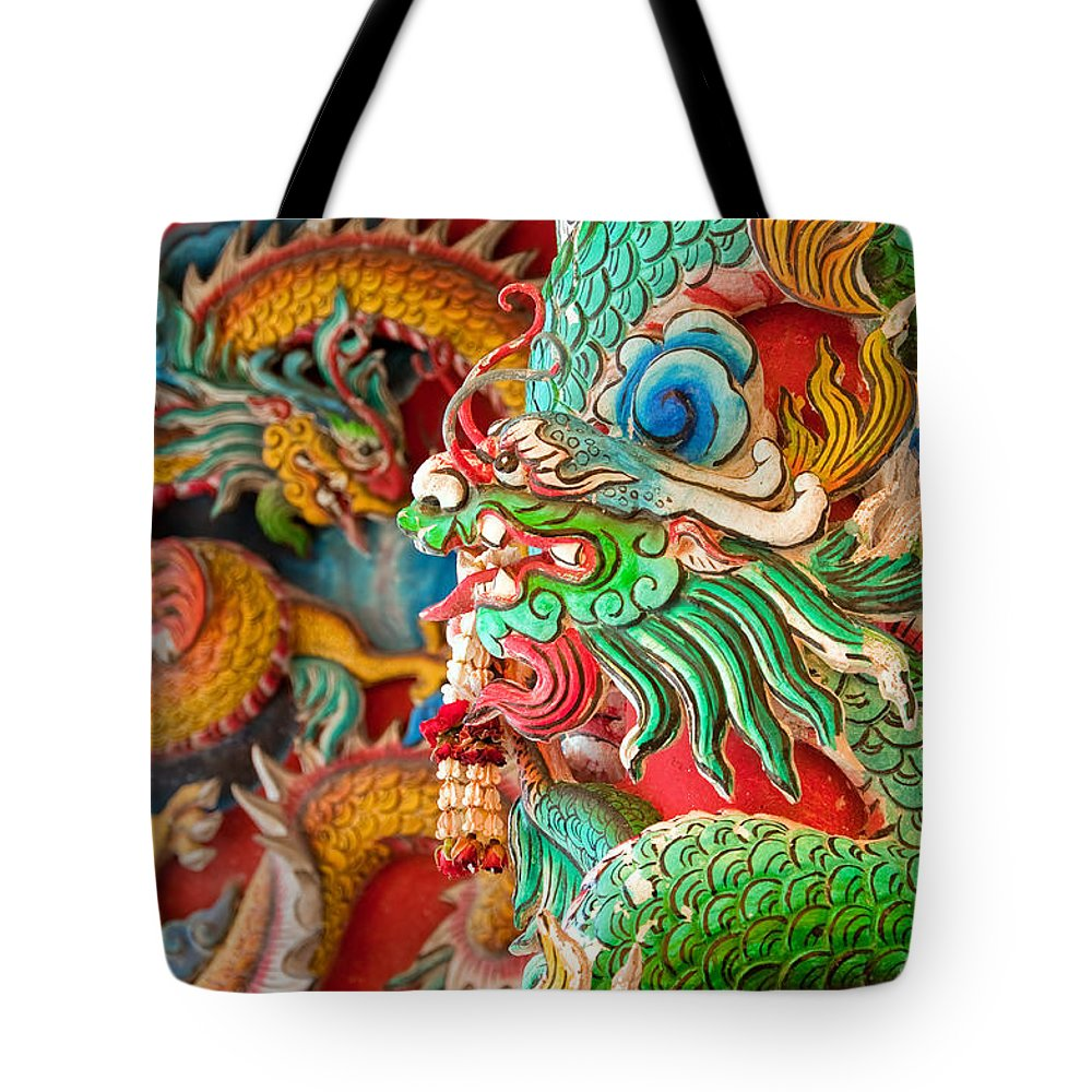 Hua Tote Bag featuring the photograph Chinese Temple Detail by Antony McAulay