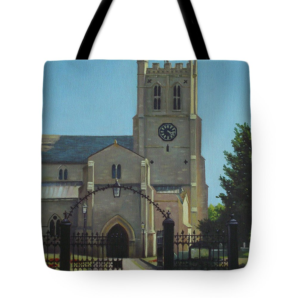 Christchurch Tote Bag featuring the painting Christchurch Priory by Martin Davey