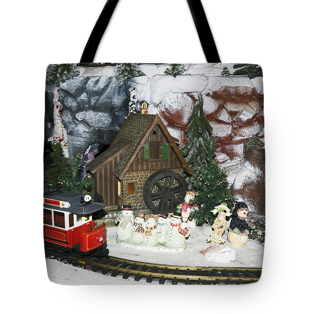 Christmas Holiday Scene Display Tote Bag featuring the photograph Christmas Greetings by Sally Weigand