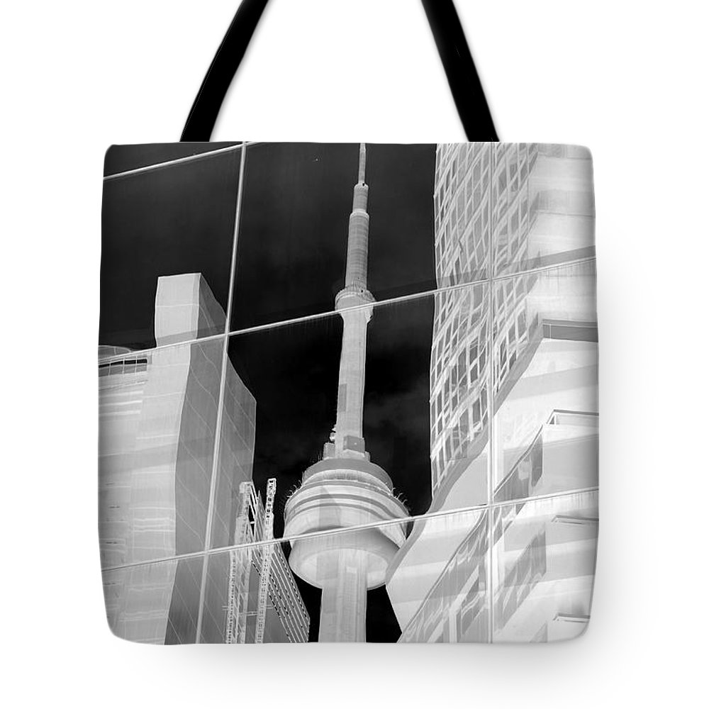 Cn Tower Tote Bag featuring the photograph Cn Tower Reflected by Valentino Visentini