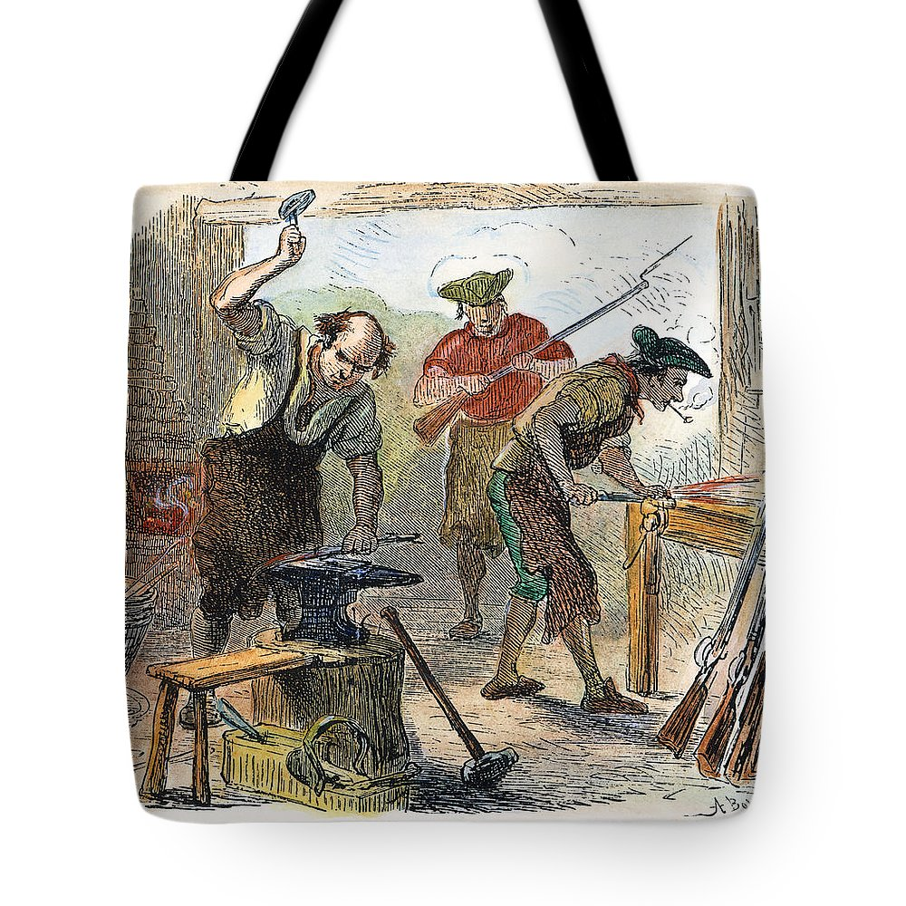 1770s Tote Bag featuring the photograph Colonial Blacksmith, 1776 by Granger