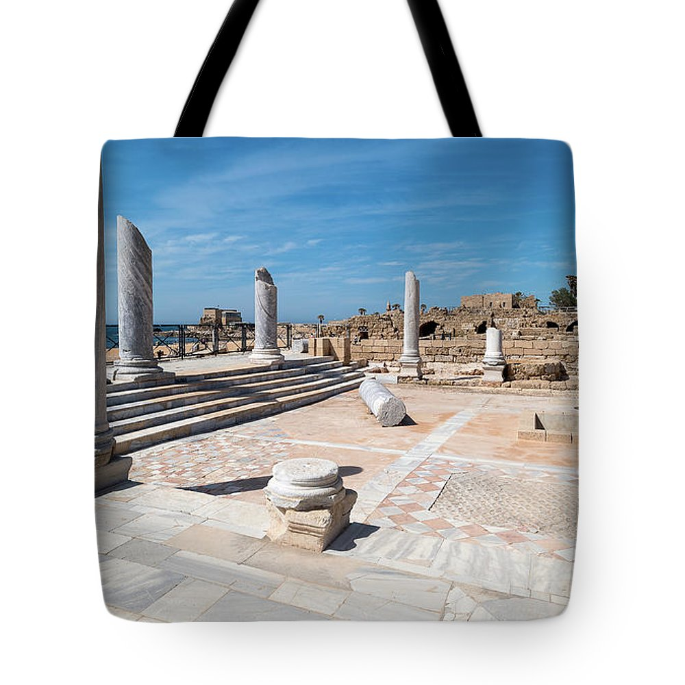 Photography Tote Bag featuring the photograph Columns In Archaeological Site by Panoramic Images