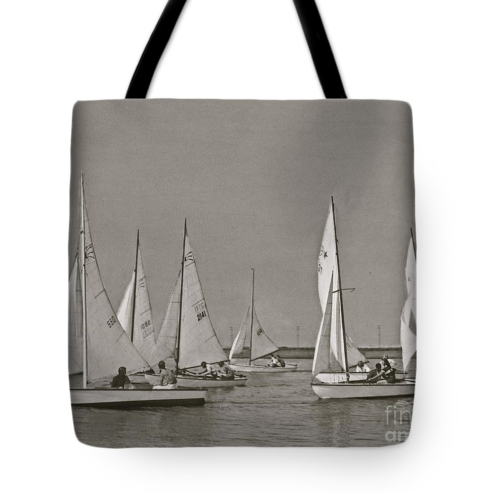 Comet Class Sailboat Tote Bag featuring the photograph Comet Race In Black And White by Nancy Patterson