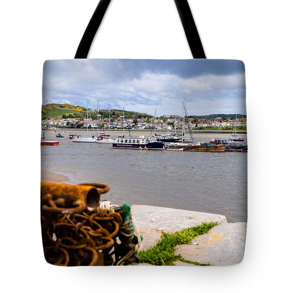 Beach Tote Bag featuring the photograph Conway Harbour by Mark Llewellyn