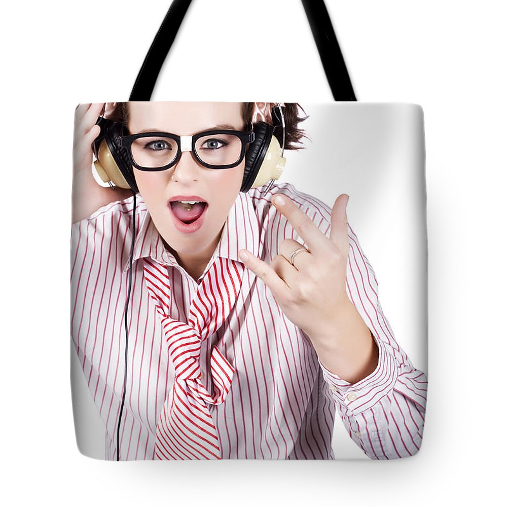 Adolescent Tote Bag featuring the photograph Cool Music Nerd Rocking Out To Metal On Headphones by Jorgo Photography - Wall Art Gallery