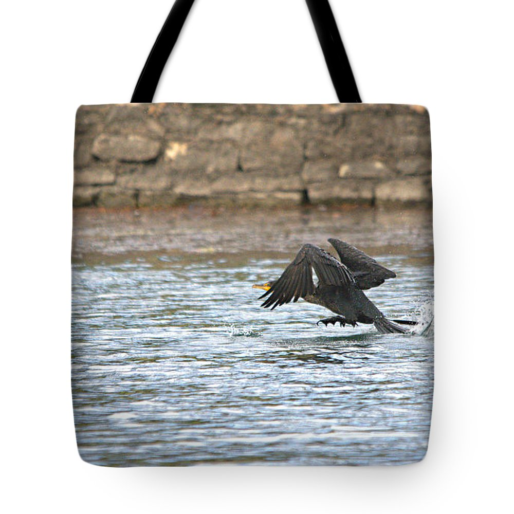Roy Williams Tote Bag featuring the photograph Cormorant Water Takeoff by Roy Williams