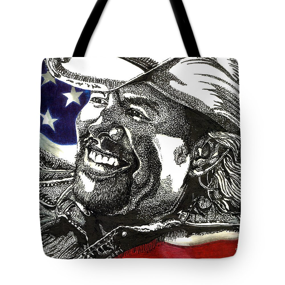 Toby Keith Tote Bag featuring the drawing Courtesy Of The Red White And Blue by Cory Still