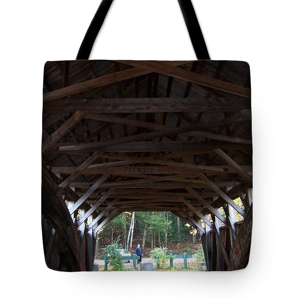 Covered Bridge Tote Bag featuring the photograph Covered Bridge by Catherine Gagne